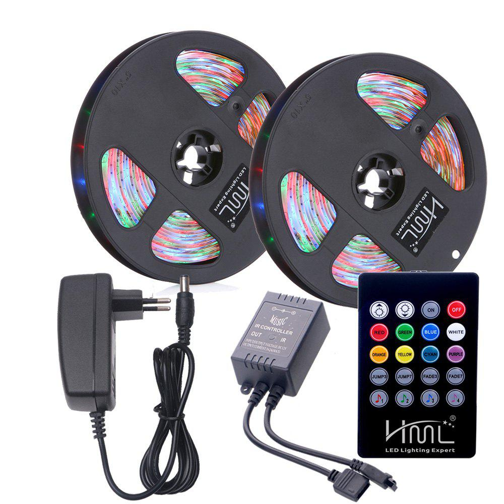 Fashion HML 2pcs 5M Waterproof 24W RGB SMD2835 300 LED Strip Light - RGB COLOR with IR 20 Keys Music Remote Control and EU Adapt