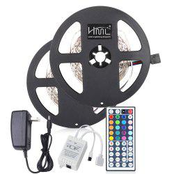 2pcs x 5M HML 24W RGB 2835 300 LED Strip Light with IR 44 Keys Remote Control+ Adapter(US Plug) -