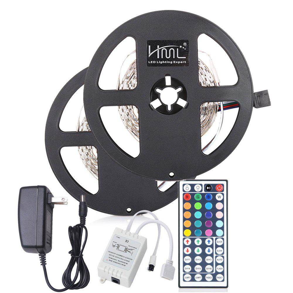 Fancy 2pcs x 5M HML 24W RGB 2835 300 LED Strip Light with IR 44 Keys Remote Control+ Adapter(US Plug)