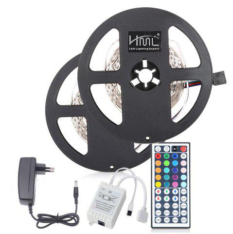 Unique 2pcs x 5M HML 24W RGB 2835 SMD 300 LED Strip Light with IR 44 Keys Remote Control+ DC Adapter(EU Plug)