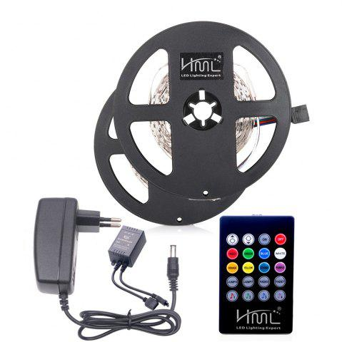 Latest HML 2pcs 5M 24W RGB SMD2835 300 LED RGB Strip Light - with IR 20 Keys Music Remote Control and EU Adapter