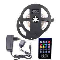 HML 2pcs 5M 24W RGB SMD2835 300 LED RGB Strip Light - with IR 20 Keys Music Remote Control and EU Adapter -