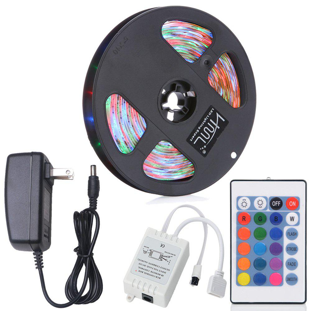 Outfits HML 5M Water-proof 24W RGB 2835 SMD 300 LEDs Strip Light with 24 Keys Remote Control and US Adapter