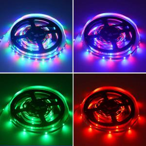 HML LED Strip Light 5M 24W RGB SMD2835 300 LEDs - RGB COLOR with IR 44 Keys Remote Control and US  Adapter -