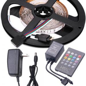 HML LED Strip Light 5M 24W RGB SMD2835 300 LEDs - with IR 20 Keys Music Remote Control and US Adapter -