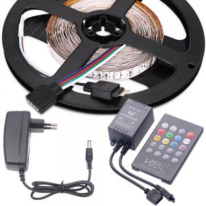 HML LED Strip Light 5M 24W RGB SMD2835 300 LEDs - with IR 20 Keys Music Remote Control and EU Adapter -