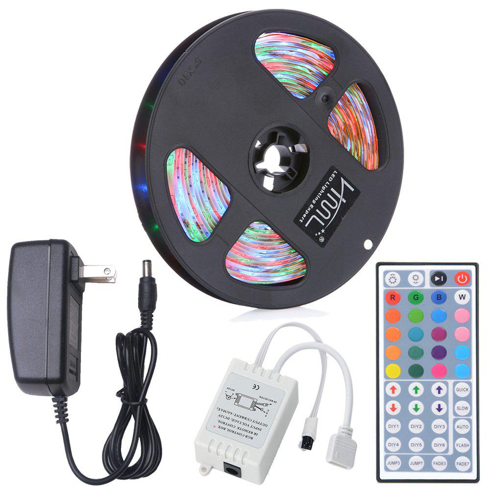 Fancy HML 5M Waterproof 24W RGB 2835 SMD 300 LED Strip Light with IR 44 Keys Remote Control+ US Adapter