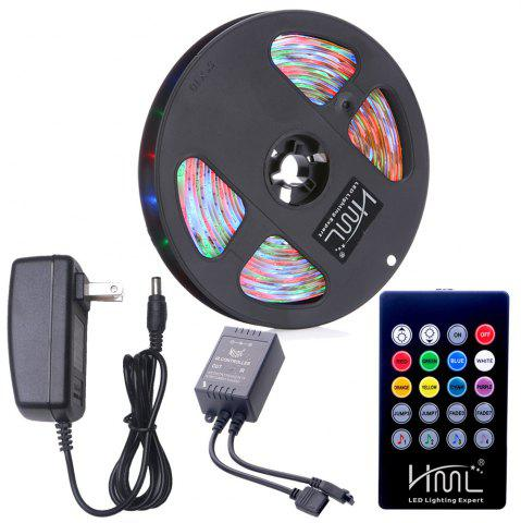 Sale HML Waterproof LED Strip Light 5M 24W RGB SMD2835 300 LEDs -with IR 20 Keys Music Remote Control and US Adapt