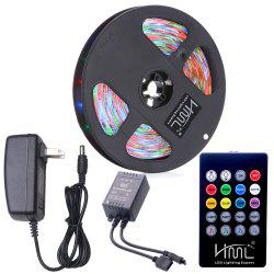 HML Waterproof LED Strip Light 5M 24W RGB SMD2835 300 LEDs -with IR 20 Keys Music Remote Control and US Adapt -