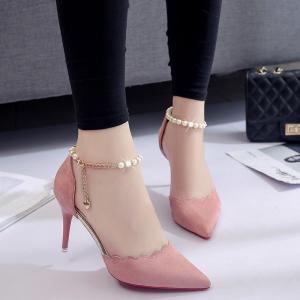 High-Heeled Shoes Female 2017 New Beaded Pointed Shoes -