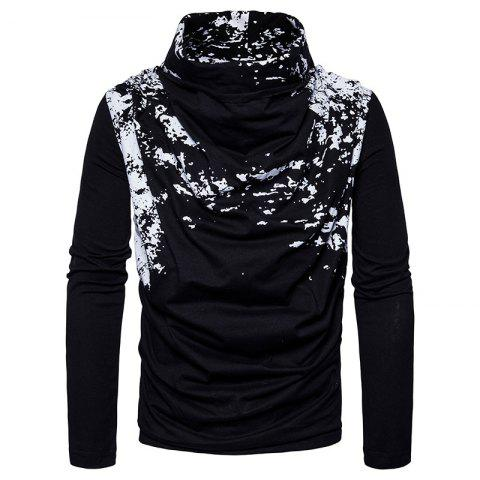 Online Autumn and Winter New Personality Fashion Spray Paint Pile Collar Long Sleeved Man SweaterMJ20