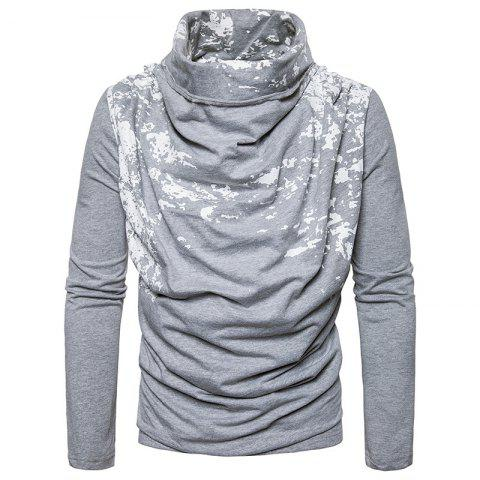 Unique Autumn and Winter New Personality Fashion Spray Paint Pile Collar Long Sleeved Man SweaterMJ20