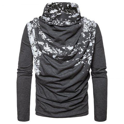 Trendy Autumn and Winter New Personality Fashion Spray Paint Pile Collar Long Sleeved Man SweaterMJ20