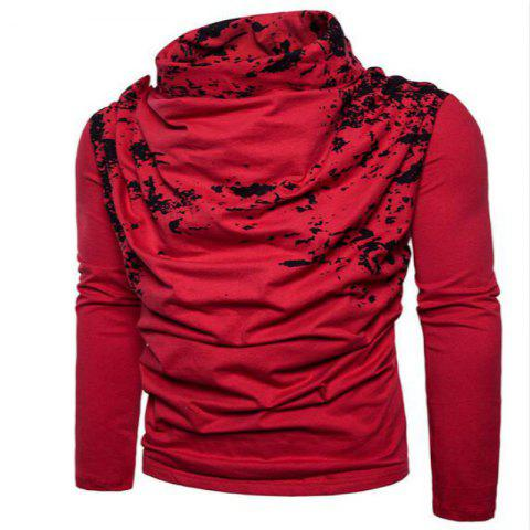 New Autumn and Winter New Personality Fashion Spray Paint Pile Collar Long Sleeved Man SweaterMJ20