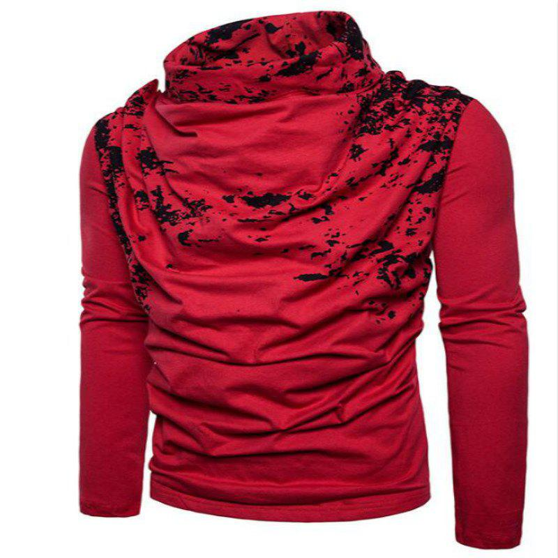 Cheap Autumn and Winter New Personality Fashion Spray Paint Pile Collar Long Sleeved Man SweaterMJ20