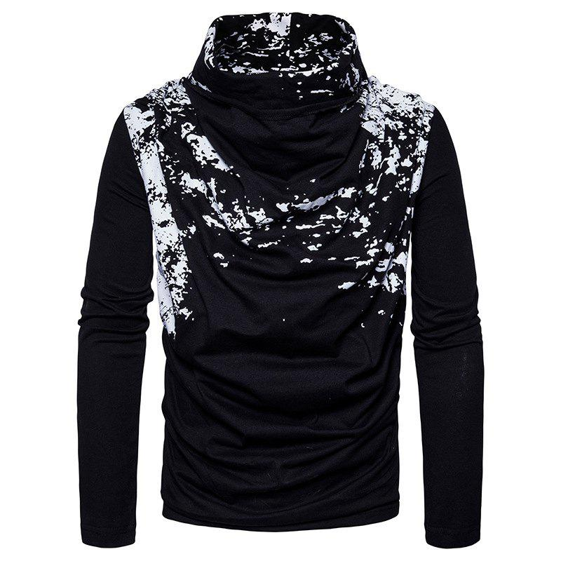 Latest Autumn and Winter New Personality Fashion Spray Paint Pile Collar Long Sleeved Man SweaterMJ20