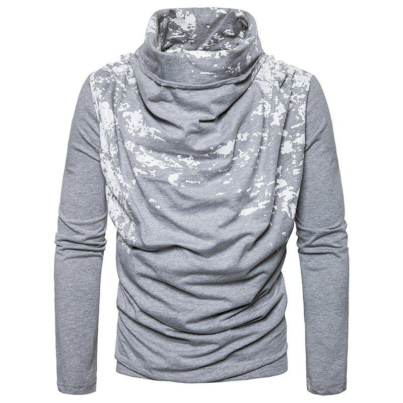 Fashion Autumn and Winter New Personality Fashion Spray Paint Pile Collar Long Sleeved Man SweaterMJ20