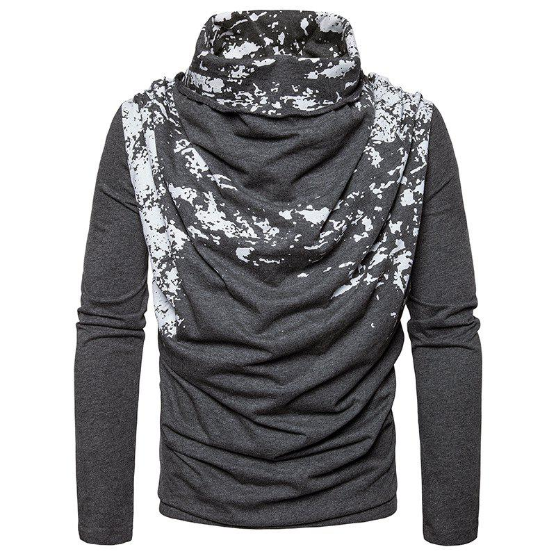 Chic Autumn and Winter New Personality Fashion Spray Paint Pile Collar Long Sleeved Man SweaterMJ20