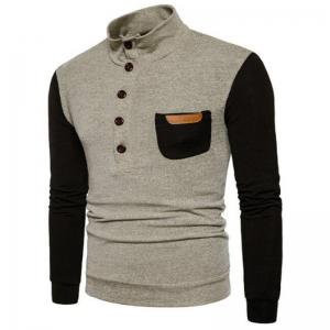 New Men'S Fashion Collar Sweater Slim Single Pocket Pullover -