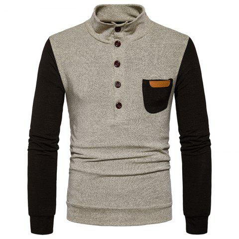 Discount New Men'S Fashion Collar Sweater Slim Single Pocket Pullover