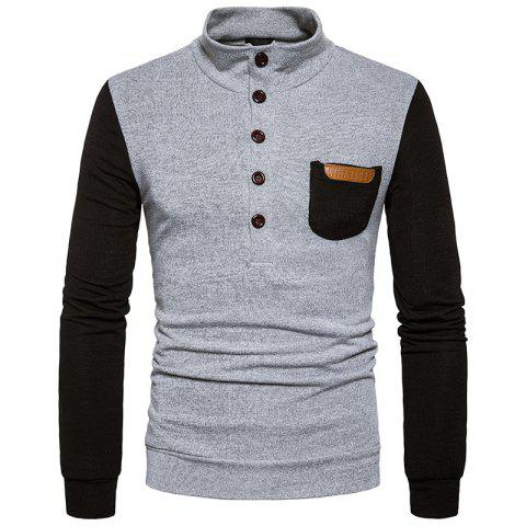 Fashion New Men'S Fashion Collar Sweater Slim Single Pocket Pullover