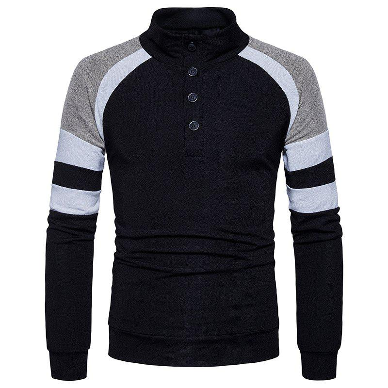 Best New Winter Men'S Slim Collar Sweater Sleeves Color Sweater MJ32