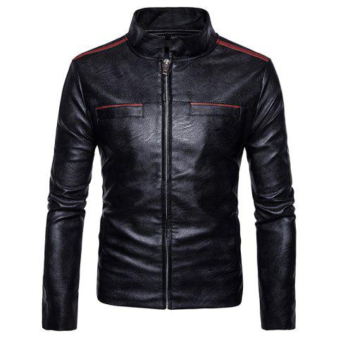 Cheap New Men'S Fashion Leather Jacket Pocket Zipper Collar PY12