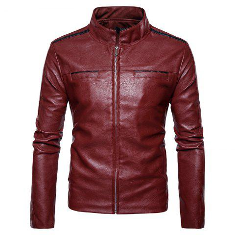 Discount New Men'S Fashion Leather Jacket Pocket Zipper Collar PY12