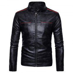 New Men'S Fashion Leather Jacket Pocket Zipper Collar PY12 -