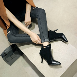 New Europe Leather high-heeled Boots Pointed Stilettos Single Boots Boots -