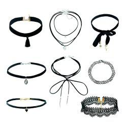 8pcs Black lace necklace for lady -