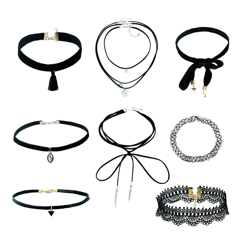 Shops 8pcs Black lace necklace for lady