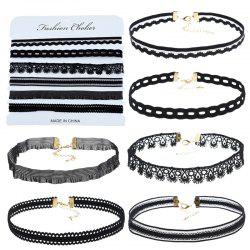 6PCS Black Lace Choker Necklace for Women -