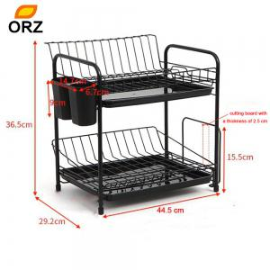 ORZ 2 Tier Dish Rack Plate Drainer Drying Shelf  Cup Mug Cutting Board Holder  Kitchen Organizer Storage -