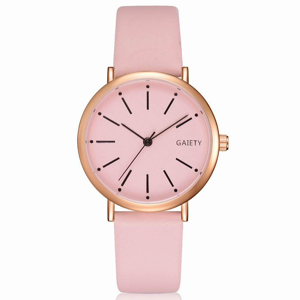 Outfit GAIETY Women's Rose Gold Simple Leather Strap Dress Watch G536
