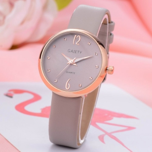 GAIETY Women's Casual Leather Band Dress Watch Rose Gold Tone G528 -