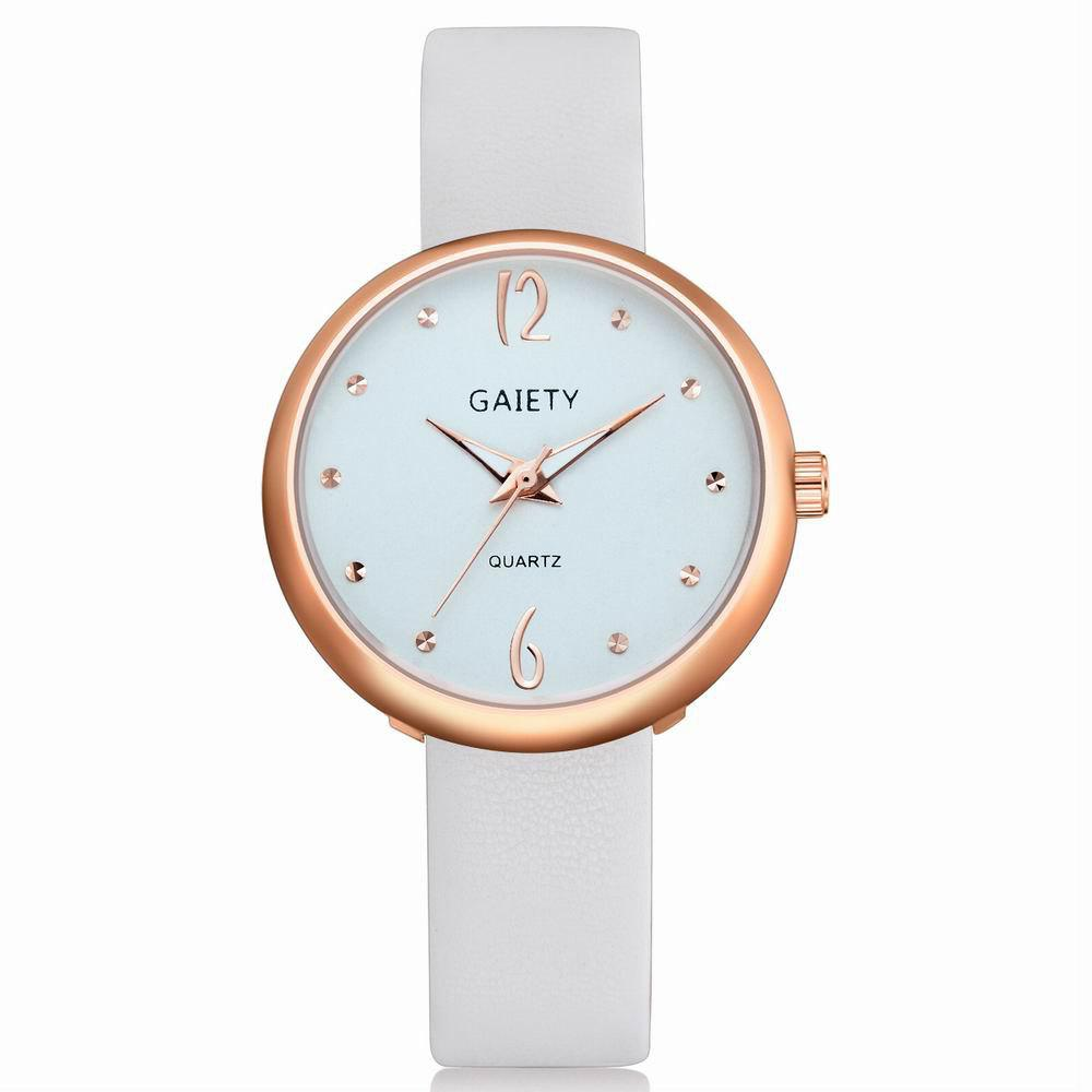 Latest GAIETY Women's Casual Leather Band Dress Watch Rose Gold Tone G528