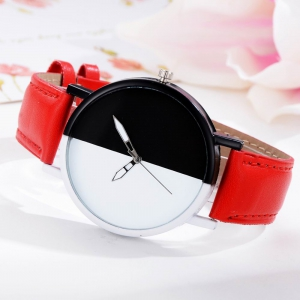 GAIETY Women Two Tone Dial Leather Strap Dress Watch G519 -