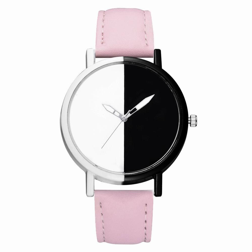 Chic GAIETY Women Two Tone Dial Leather Strap Dress Watch G519