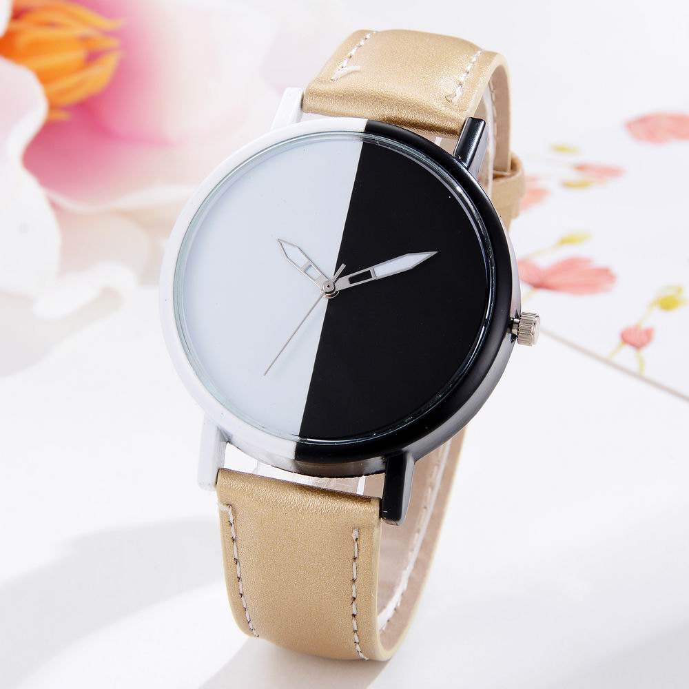 Trendy GAIETY Women Two Tone Dial Leather Strap Dress Watch G519