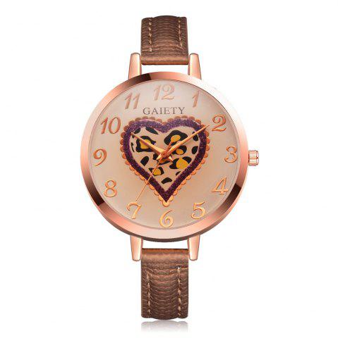 Fancy GAIETY Women's Peach Heart Leather Band Dress Watch Rose Gold Tone G518