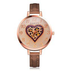 GAIETY Women's Peach Heart Leather Band Dress Watch Rose Gold Tone G518 -