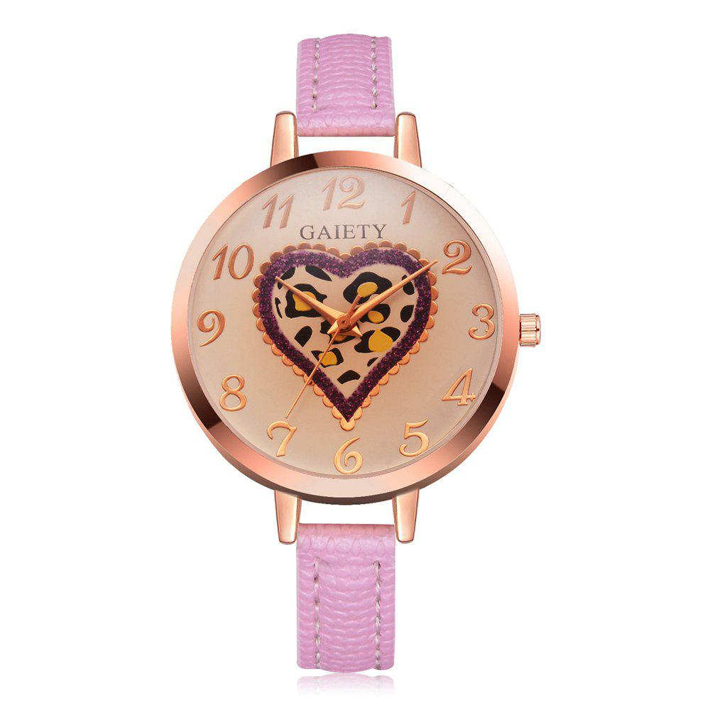 Discount GAIETY Women's Peach Heart Leather Band Dress Watch Rose Gold Tone G518