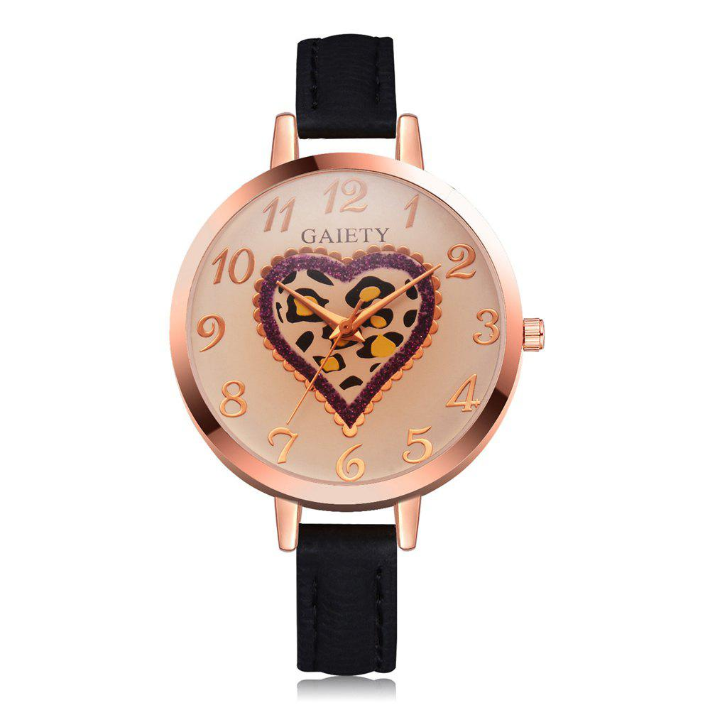 Unique GAIETY Women's Peach Heart Leather Band Dress Watch Rose Gold Tone G518