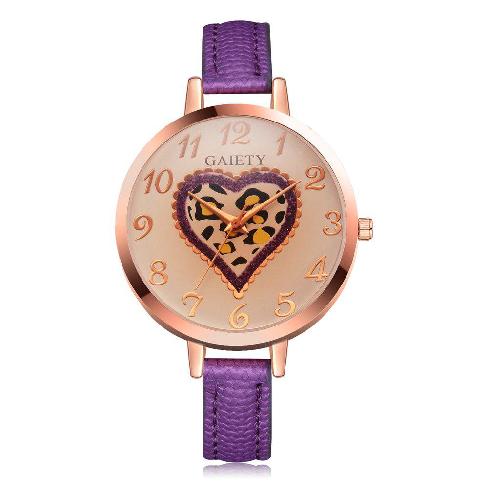 Latest GAIETY Women's Peach Heart Leather Band Dress Watch Rose Gold Tone G518