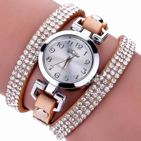 Shops DUOYA D016 Women Rhinestones Analog Quartz Leather Bracelet Watch