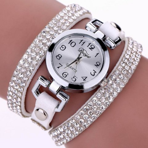 Latest DUOYA D016 Women Rhinestones Analog Quartz Leather Bracelet Watch