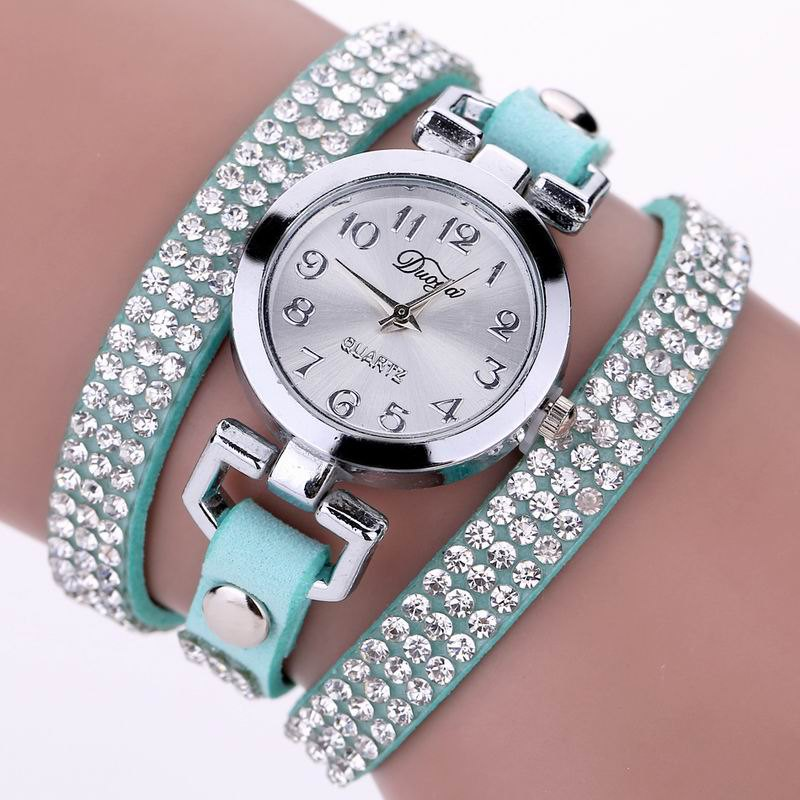 Hot DUOYA D016 Women Rhinestones Analog Quartz Leather Bracelet Watch
