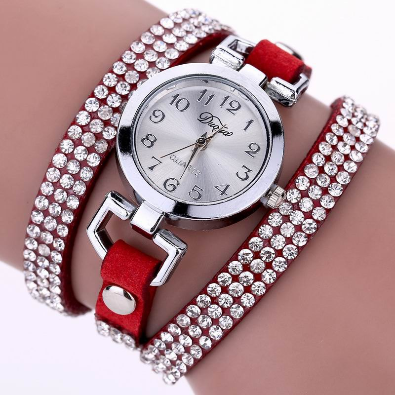 Store DUOYA D016 Women Rhinestones Analog Quartz Leather Bracelet Watch