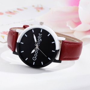 GAIETY Women's Black Dial Two Tone Bezel Leather Band Quartz Watch G513 -